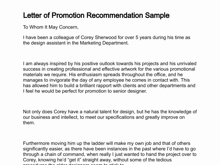 Sample Recommendation Letter for Promotion New Letter Of Promotion
