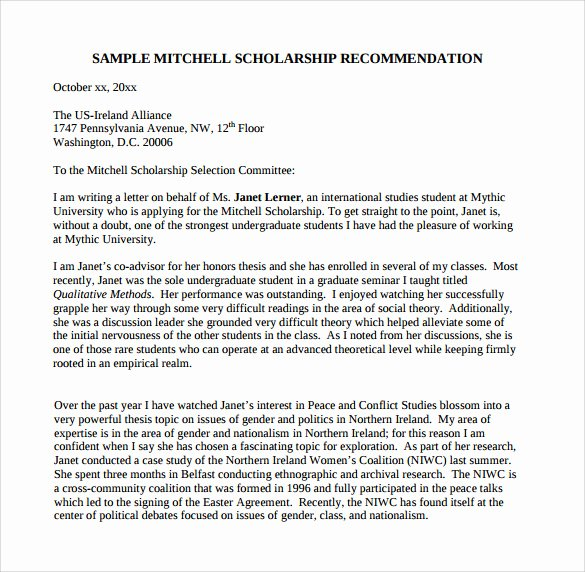 Sample Recommendation Letter for Scholarship Best Of Sample Letter Of Re Mendation for College 10 Download