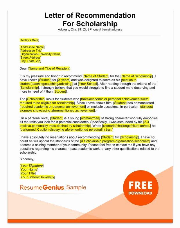 Sample Recommendation Letter for Scholarship Best Of Student and Teacher Re Mendation Letter Samples