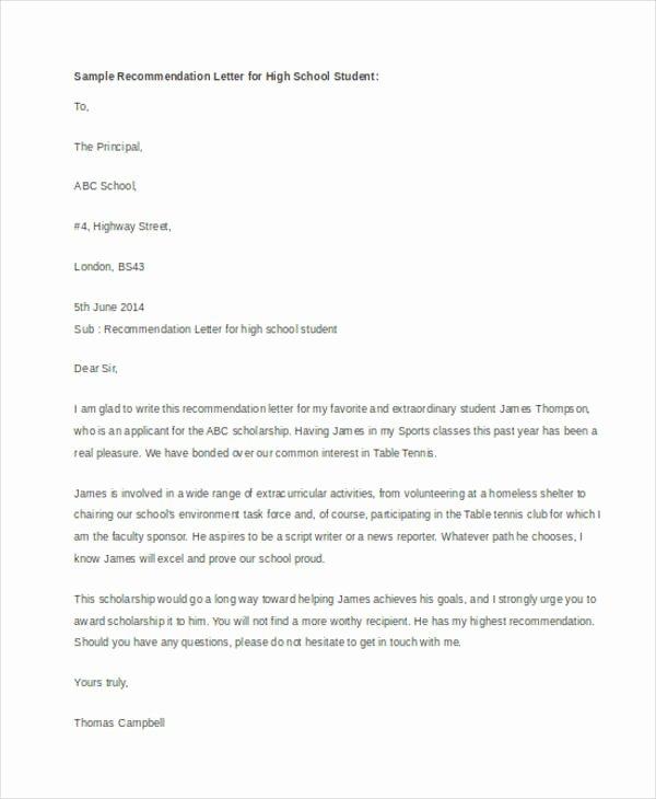 Sample Recommendation Letter for Scholarship Elegant 54 Re Mendation Letter Example Templates