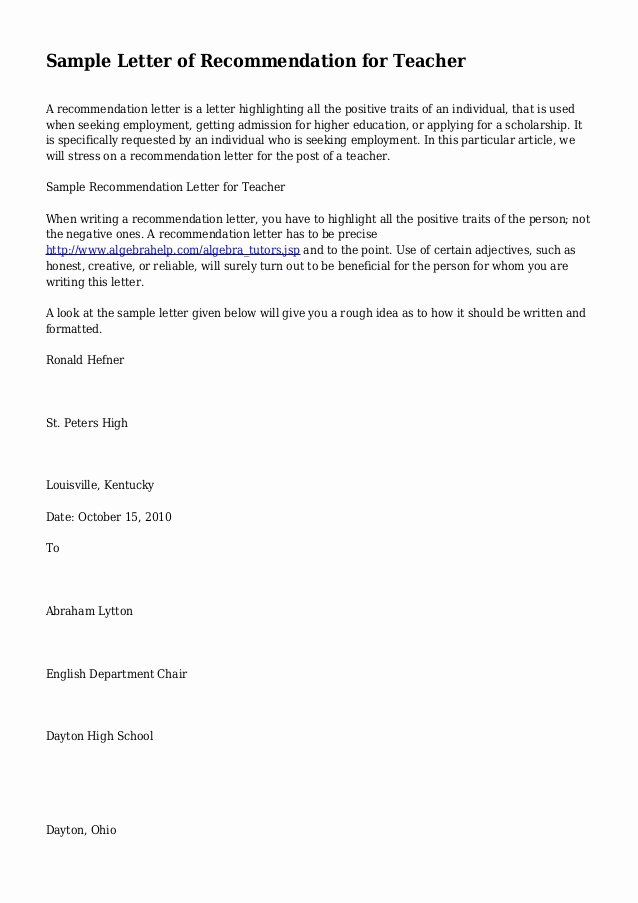 Sample Recommendation Letter for Teacher Awesome Sample Letter Of Re Mendation for Teacher