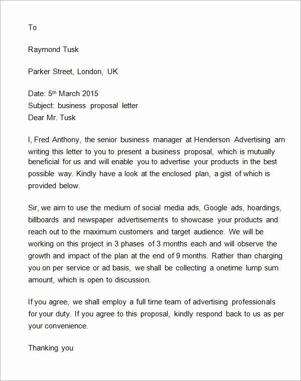 Sample Sales Letter to Potential Client Elegant 38 Sample Business Proposal Letters Pdf Doc