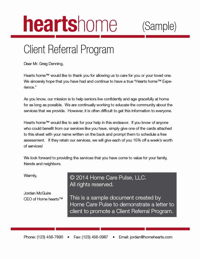 Sample Sales Letter to Potential Client Unique Client Referral Program Letter Sample Template