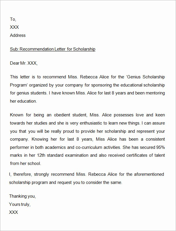 Sample Scholarship Recommendation Letter Fresh 30 Sample Letters Of Re Mendation for Scholarship Pdf