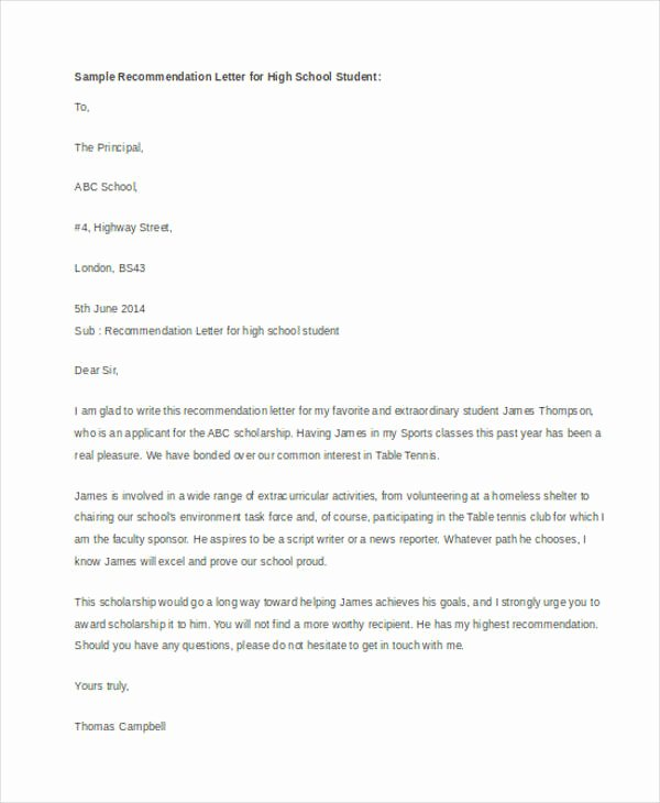 Sample Scholarship Recommendation Letter Inspirational 54 Re Mendation Letter Example Templates