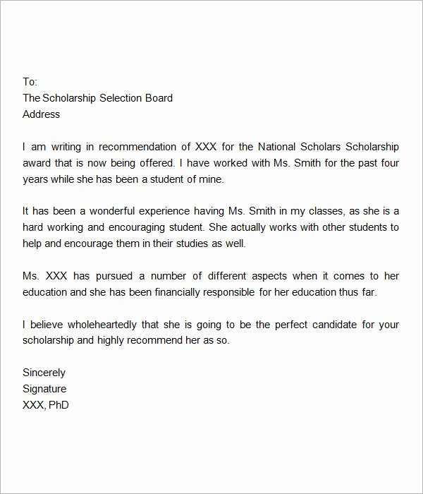 Sample Scholarship Recommendation Letter Unique 30 Sample Letters Of Re Mendation for Scholarship Pdf