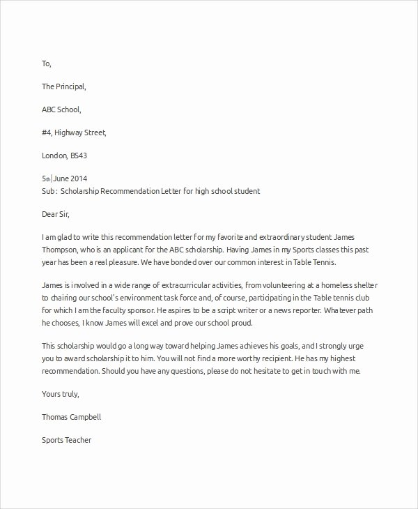 Sample Scholarship Recommendation Letter Unique Sample Scholarship Re Mendation Letter 7 Examples In