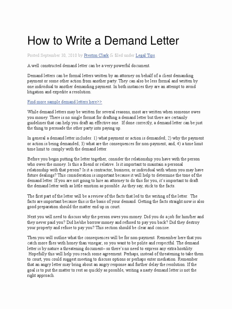 Sample Small Claims Demand Letter Beautiful How to Write A Demand Letter Eviction