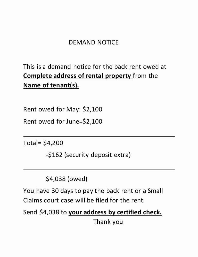 Sample Small Claims Demand Letter Elegant Small Claims Demand Notice