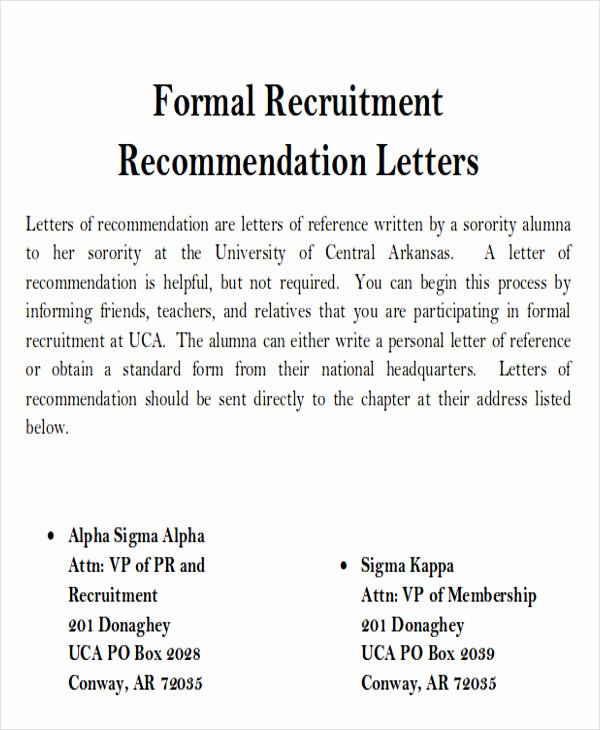 Sample sorority Recommendation Letter Best Of 6 Sample sorority Re Mendation Letters