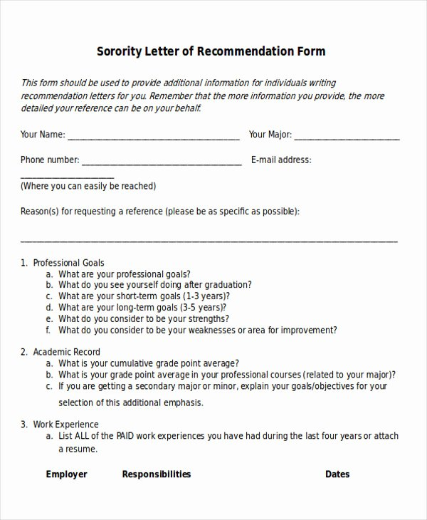 Sample sorority Recommendation Letter Inspirational 7 Sample sorority Re Mendation Letters Pdf Doc