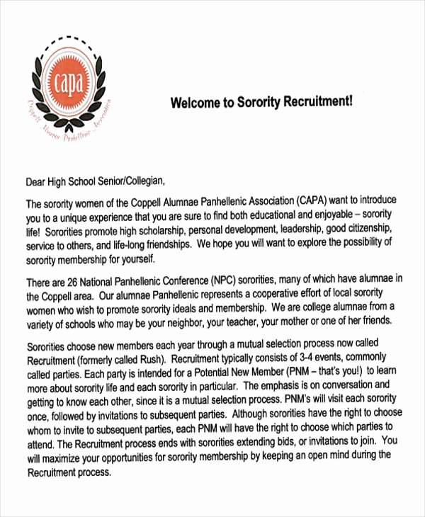 Sample sorority Recommendation Letter New 7 Sample sorority Re Mendation Letters Pdf Doc