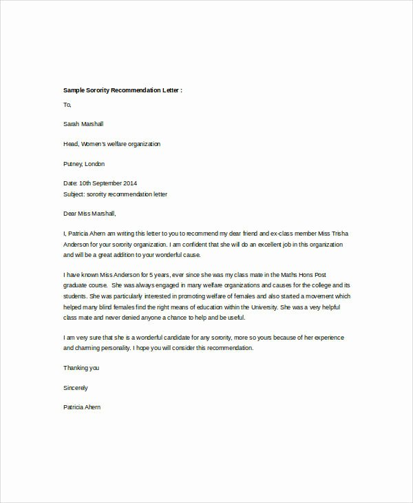 Sample sorority Recommendation Letter New Examples Of Re Mendation Letter