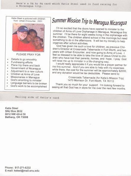 Sample Support Letter for Mission Trip Elegant Mission Trip Fund Raising Card