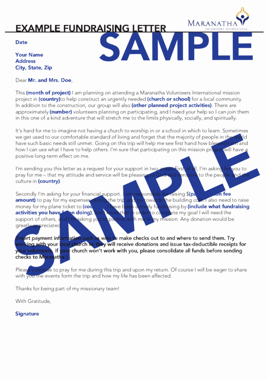 Sample Support Letter for Mission Trip Fresh Example Fundraising Letter Template Printable Pdf