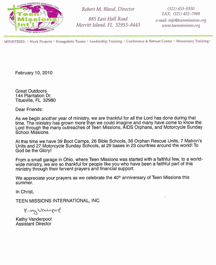 Sample Support Letter for Mission Trip Lovely Great Outdoors Munity Church Missions International