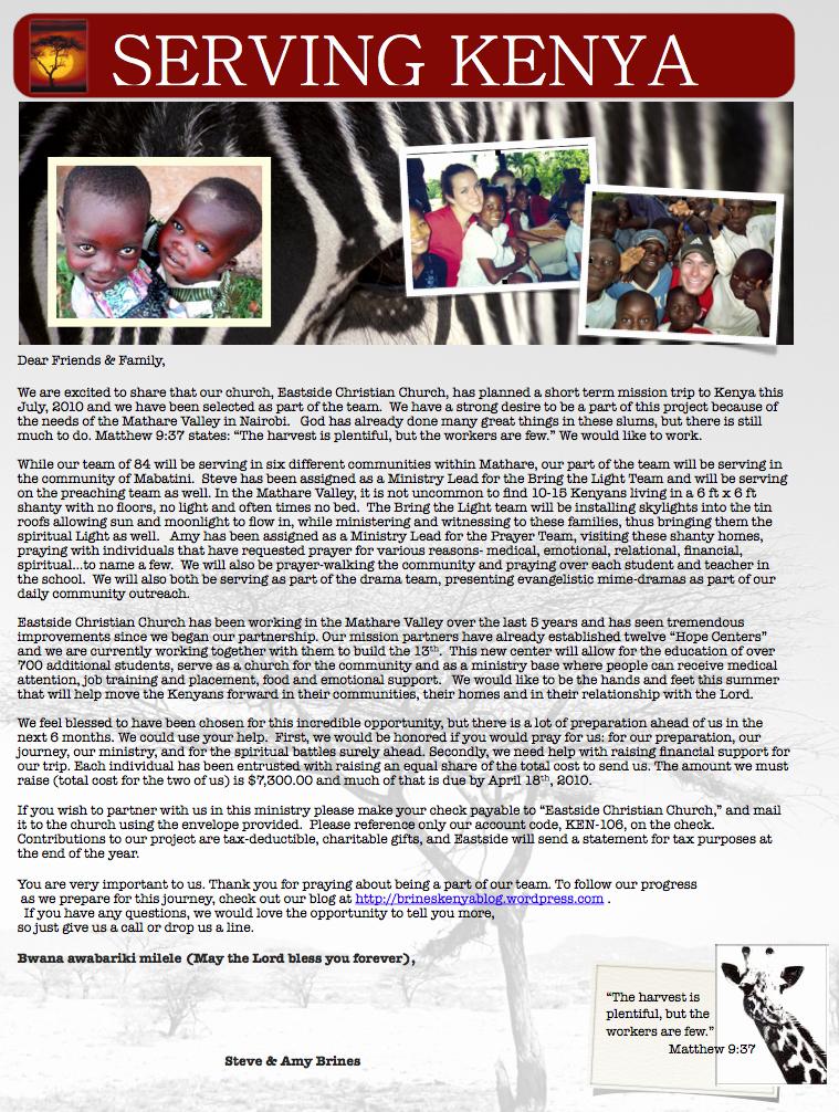 Sample Support Letter for Mission Trip Luxury Ken 106 Support Letter