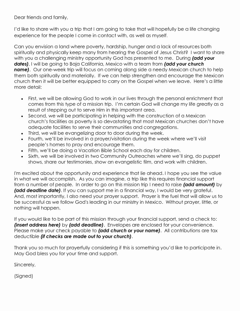 Sample Support Letter for Mission Trip New Mission Trip Donation Letter Template Gallery