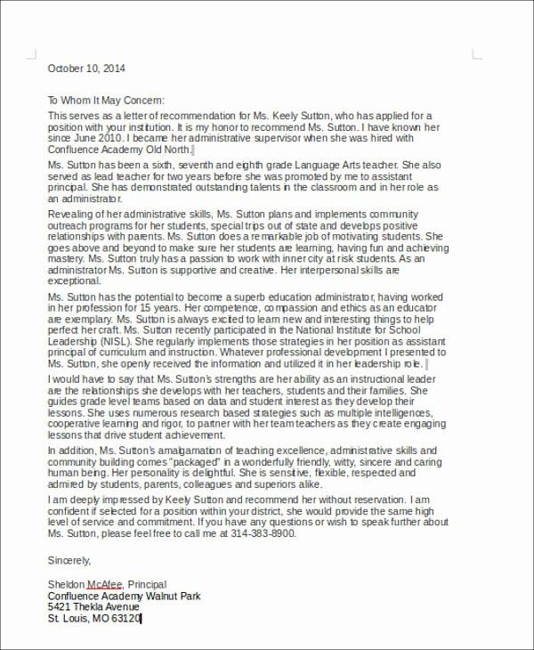 Sample Teacher Letter Of Recommendation Awesome 6 Coworker Re Mendation Letter Samples Examples Templates