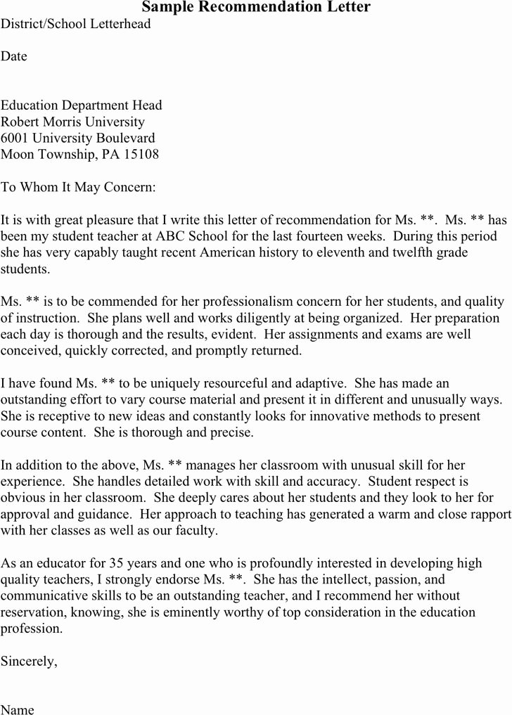 Sample Teacher Letter Of Recommendation Beautiful Free Three Sample Re Mendation Letters Pdf 1 Page S