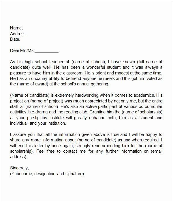 Sample Teacher Letter Of Recommendation New 30 Sample Letters Of Re Mendation for Scholarship Pdf