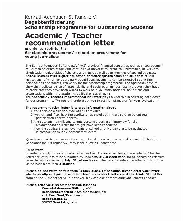 Sample Teacher Letter Of Recommendation Unique Scholarship Re Mendation Letter Free Sample Example