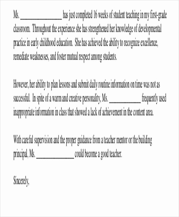 Sample Teacher Recommendation Letter Elegant 8 Sample Teacher Re Mendation Letters