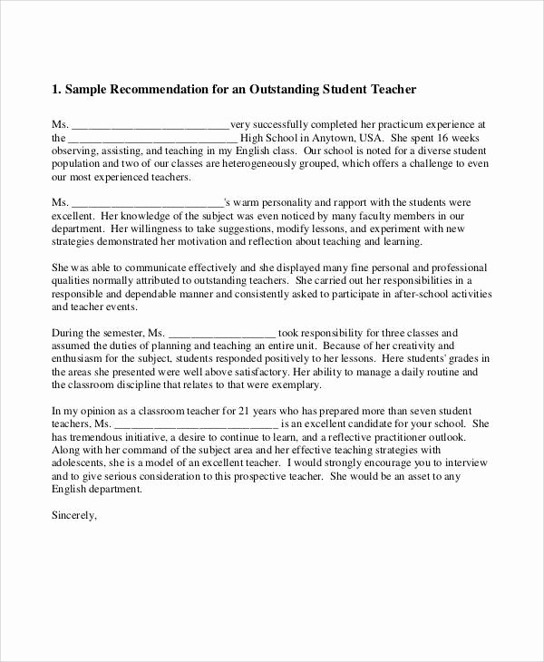 Sample Teacher Recommendation Letter Luxury 10 School Re Mendation Letter Samples
