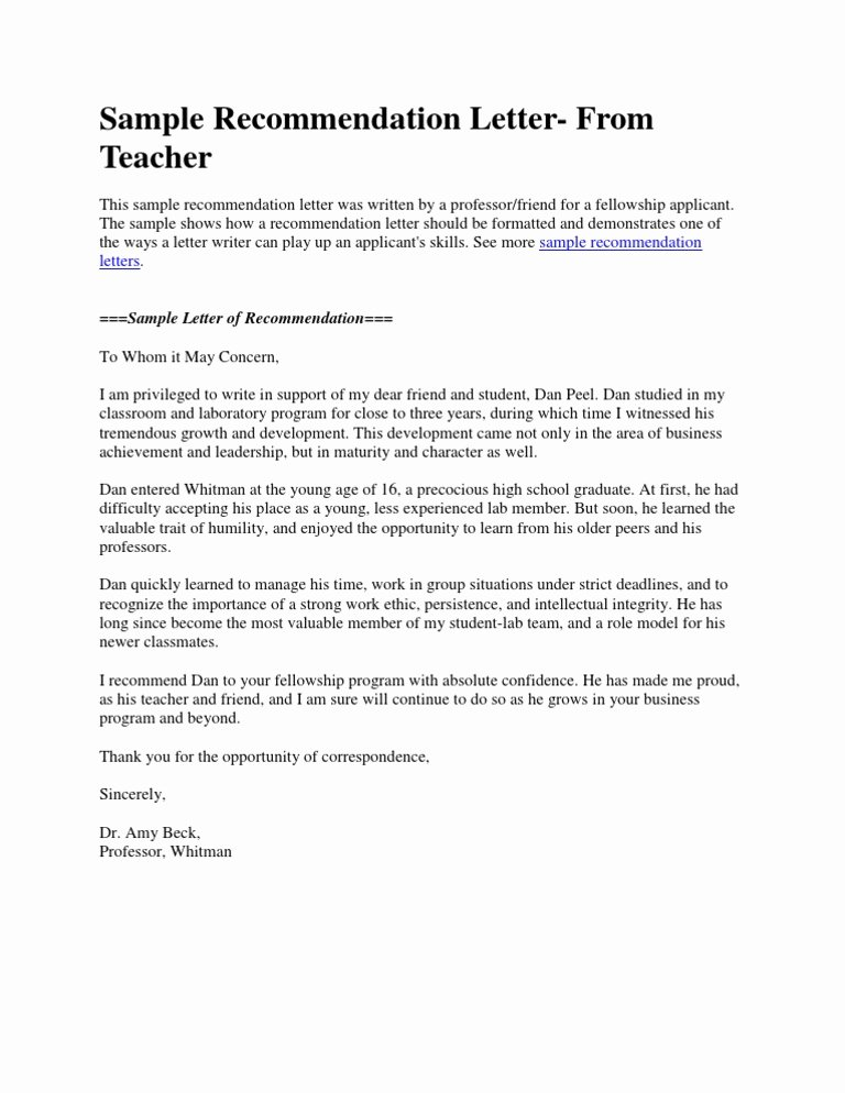 Sample Teacher Recommendation Letter Unique Sample Re Mendation Letter From Teacher Doc