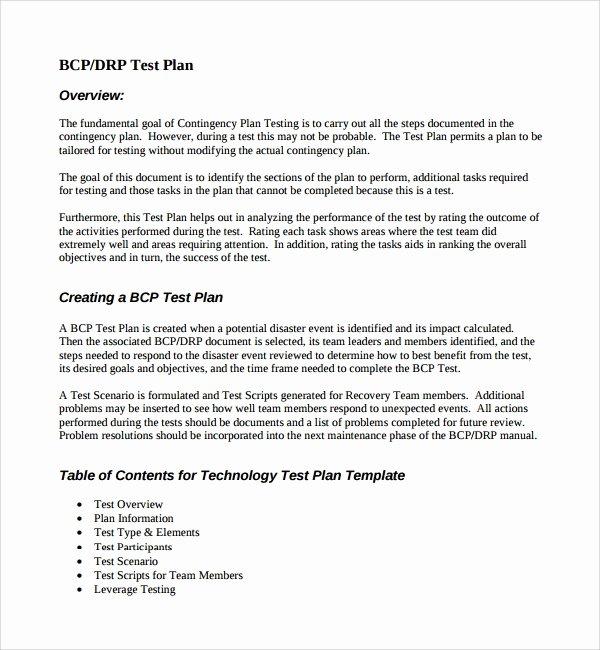 Sample Test Plan Template Best Of 9 Testing Plan Templates