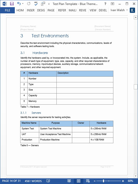 Sample Test Plan Template Fresh Test Plan – Download Ms Word & Excel Template