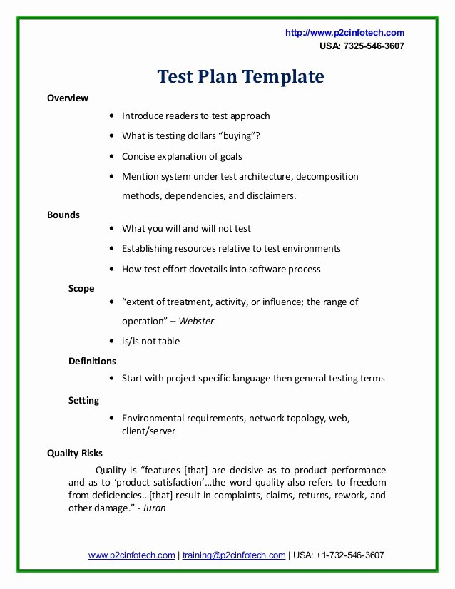 Sample Test Plan Template New Sample Test Plan Doc