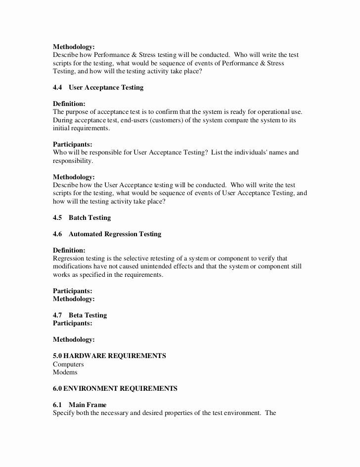 Sample Test Plan Template Unique Sample Test Plan Template Pdf