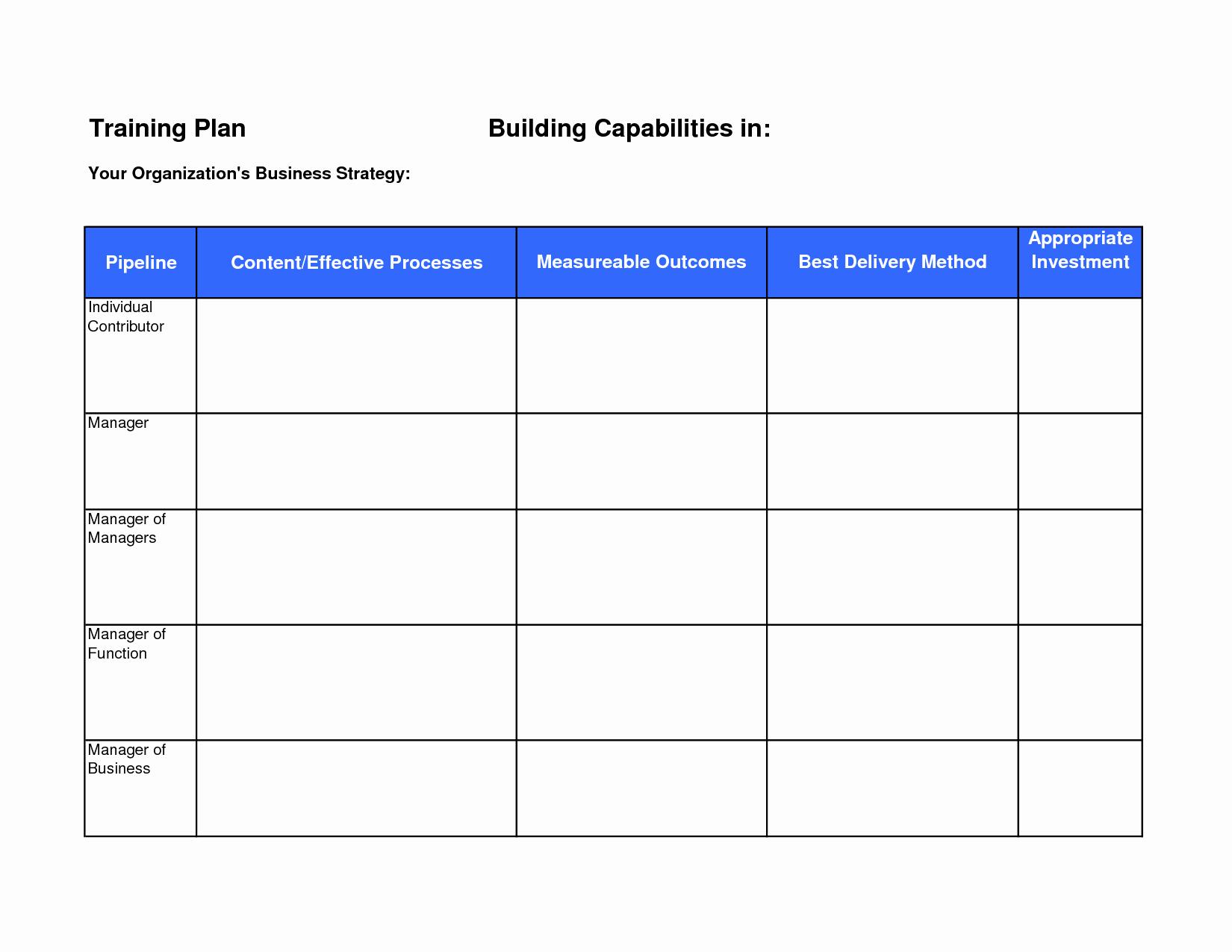 Sample Training Plan Template Elegant Training Plan Template
