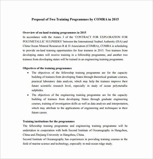 Sample Training Plan Template Fresh 41 Training Proposal Templates Pdf Doc