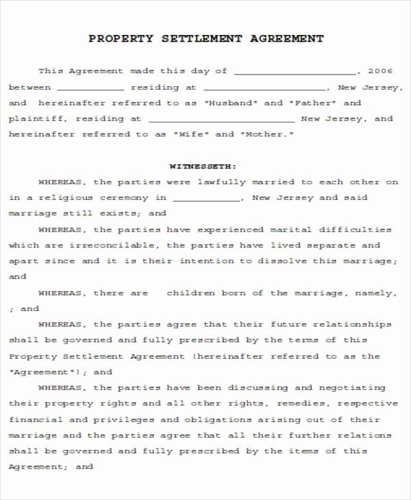 Sample Utility Easement Agreement Lovely Divorce Settlement Agreement form