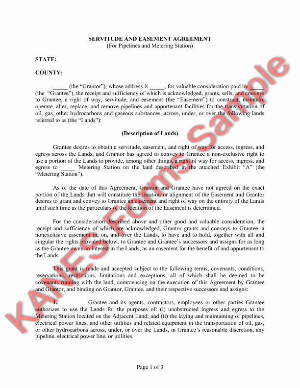 Sample Utility Easement Agreement Unique Easement Greement Sample Free Printable Documents