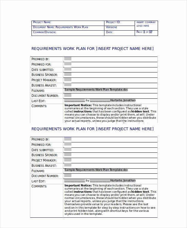 Sample Work Plan Template Luxury Work Plan Template 13 Free Pdf Word Documents Download