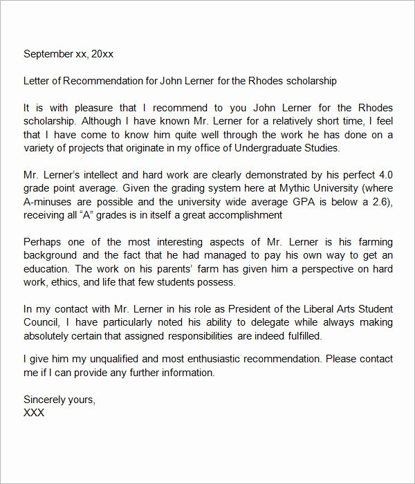 Scholarship Letter Of Recommendation Example Beautiful 30 Sample Letters Of Re Mendation for Scholarship Pdf