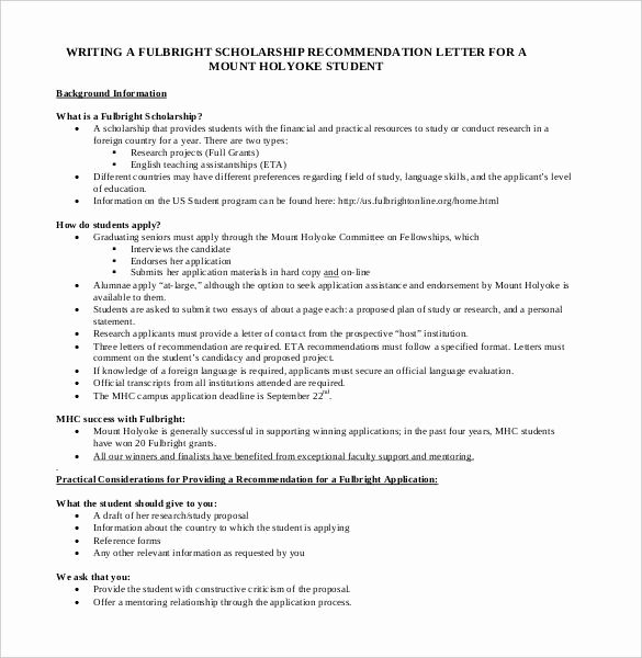 Scholarship Letter Of Recommendation Examples Awesome 27 Letters Of Re Mendation for Scholarship Pdf Doc