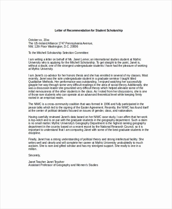Scholarship Letter Of Recommendation Examples New Letters Re Mendation for Scholarships 2018