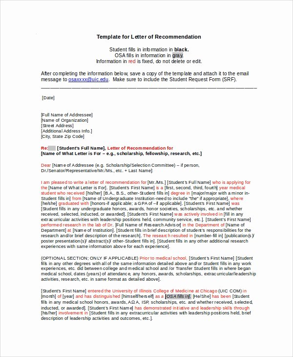 Scholarship Letter Of Recommendation Examples New Sample Scholarship Re Mendation Letter 7 Examples In