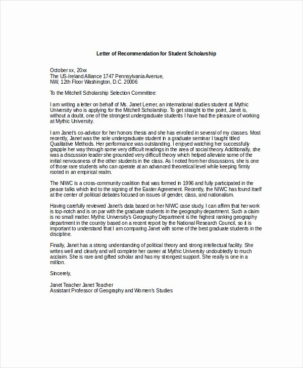 Scholarship Letter Of Recommendation Examples New Scholarship Re Mendation Letter