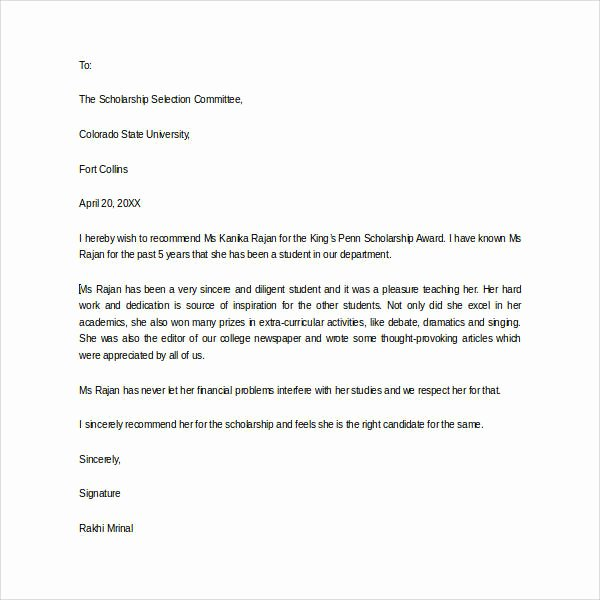 Scholarship Letter Of Recommendation Samples Awesome 30 Sample Letters Of Re Mendation for Scholarship Pdf