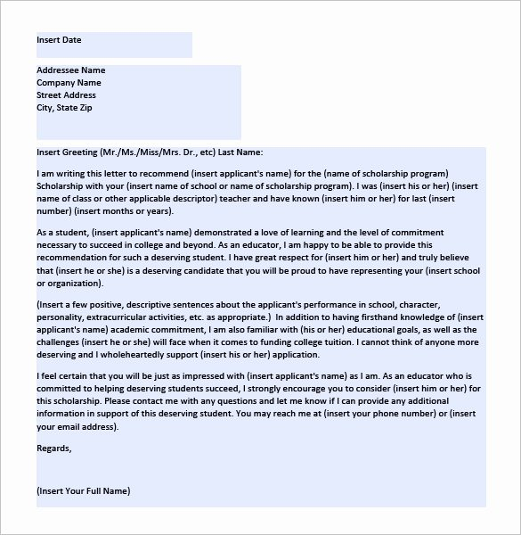 Scholarship Letter Of Recommendation Template Awesome 6 Letters Of Re Mendation for Scholarship Word Excel