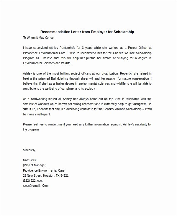 Scholarship Letter Of Recommendation Template Fresh Sample Scholarship Re Mendation Letter 7 Examples In