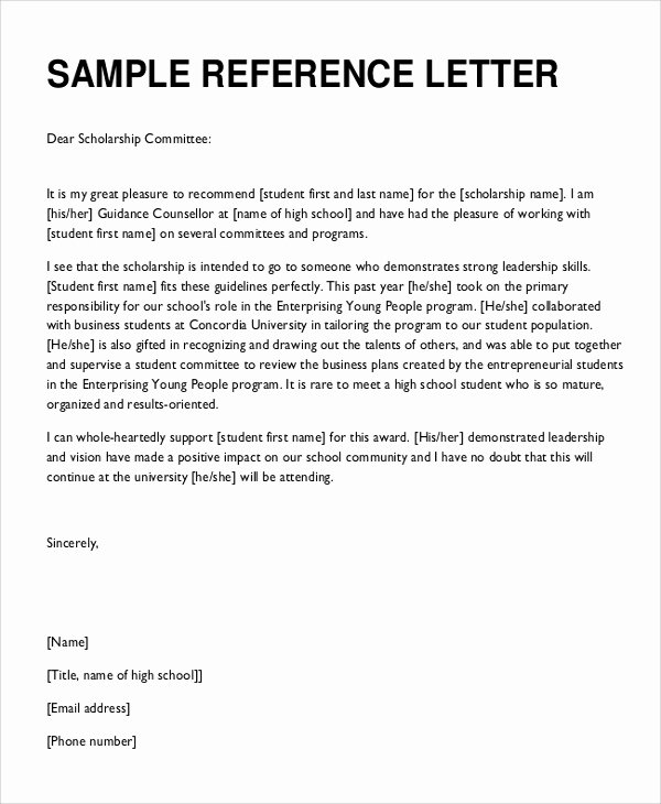 Scholarship Letter Of Recommendation Template Inspirational 8 Reference Letter Samples Examples Templates