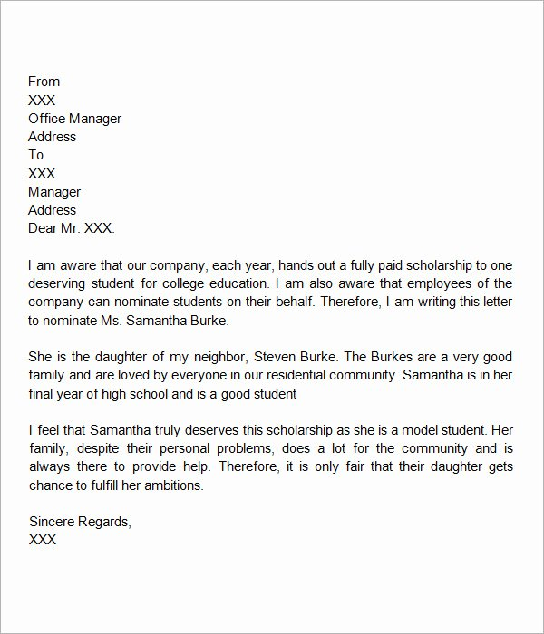 Scholarship Letter Of Recommendation Template Lovely 30 Sample Letters Of Re Mendation for Scholarship Pdf
