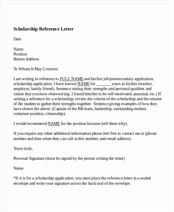 Scholarship Letter Of Recommendation Template Unique 6 College Reference Letter Templates Free Sample