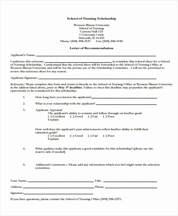 Scholarship Letter Of Recommendation Templates Elegant 9 Scholarship Re Mendation Letter Samples & Templates